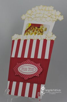 A DOUBLE CASE (Popcorn with Theater gift card) ~ North Shore Stamper (Same idea as the coffee cup gift card holder)