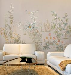 EDEN FLOWERS EDF-100 Eden Flowers is an altogether unique style of chinoiserie. Groups of flowers cascade across this mural with a mixture of complimentary plants. Each group has many well-known flowers, but there are also some that border on fantasy. Click on thumbnails for larger image
