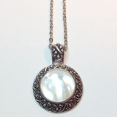 Vintage Mother of Pearl Sterling Silver Han 925 Necklace from bluecatvintage on Ruby Lane
