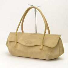 Authentic  Tod's Hand Bag  Made in Italy Beiges Suede Leather 17264