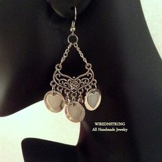 Handmade Silver Boho Style Earrings with round by WirednStrung