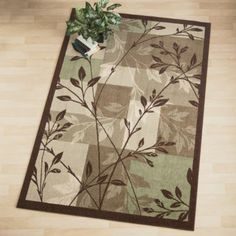 area rug with leaves