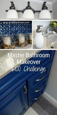 I love everything about this Master Bathroom Makeover Challenge! Great update on a $100 Budget. #bathrooms #bathroommakeover #budgetmakeover #DIYbathroom #dollarstoredecor #lightupdate #easylightupdate