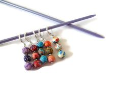 Crochet Stitch Markers, Beaded Stitch Markers, Colourful Stitch Markers by MaxieKCreations, $9.00 USD