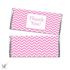 Pink Chevron Party Thank You Candy Bar Wrapper - Baby Shower Favor Birthday Party Favors DIY Party Thank You Items INSTANT DOWNLOAD