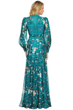Tadashi Shoji - Duverny Gown - Back - Floral Teal Classy Dress, Classy Outfits, Chic Outfits, Modest Fashion, Boho Fashion, Fashion Dresses, Beautiful Maxi Dresses, Evening Outfits, Tadashi Shoji