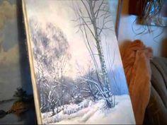 зимний пейзаж на холсте