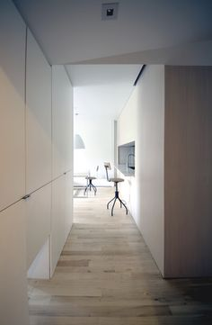 K Residence is a minimalist house located in New York, designed by Yuuki Kitada Architect. There are white-washed wood panel, bleached oak floor and white color for stone and wall throughout the apartment. (5)