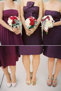 bridesmaid dresses in different purple hues