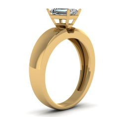 Radiant Cut Diamond Engagement Rings In 18K Yellow Gold   Thick Band Ring   Fascinating Diamonds