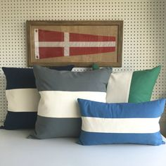 Introducing our latest collection, Duck Canvas pillows in grey, marine blue, green, navy, red and yellow, for a great nautical touch!