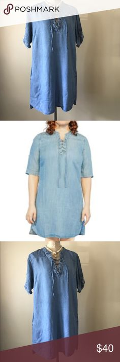 Philosophy Lace Up Dress New Large 100% Tencel Sizes: L Machine wash, cold Gentle cycle with like colors Do not bleach Tumble dry, low Low iron if needed or dry clean A stylish 3/4 sleeve tencel dress that features a lace up closure at the neckline. This dress is perfect for the seasons ahead. Dresses