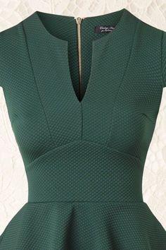 50s Carese Peplum Dress in Green  #50s #carese #dress #green #peplum