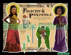 Saints Felicity and Perpetua magnetic paper doll set via Etsy.
