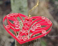 Paper Quilled Snowflake Ornament in Red and by NavankaCreations