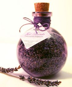 Organic Lavender Decorative Potpourri in a recycled purple corked jar