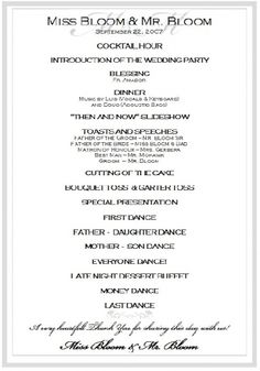 Sample Wedding Reception Program