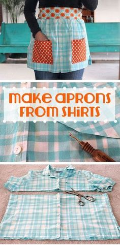 Sewing Clothes For Men 7 Free DIY Apron Sewing Patterns - Kids, Men, Vintage (Thrift Store Diy Clothes) Sewing Hacks, Sewing Tutorials, Sewing Crafts, Sewing Projects, Sewing Diy, Diy Projects, Sewing Aprons, Sewing Clothes, Men Clothes