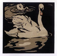 """The Beautiful Swan; color lithograph print from """"The Square Book of Animals published by R. Russell, NY by William Nicholson William Nicholson, Don Delillo, Beautiful Swan, Art Graphique, Wood Engraving, Linocut Prints, Gravure, Bird Art, Artist Art"""