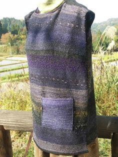さをり織り 手織りのベスト パープル