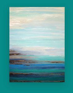 Este es un original de una pintura amable.    Tonos de azul, marrón, gris, crema y blanco funden hacia tonalidades de azul, violeta, aqua, verde