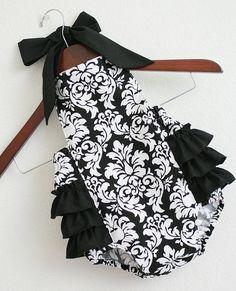 Black and White Damask Retro Style Sunsuits by xxLittleBoatsxx, $36.50
