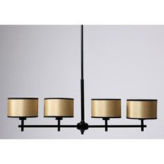 @Overstock - Add new style to your home decor with a horizontal chandelier. This ceiling fixture features a black metal rod with four hardback off-white shades.http://www.overstock.com/Home-Garden/Black-Metal-40-inch-Horizontal-Chandelier/4070931/product.html?CID=214117 $118.99