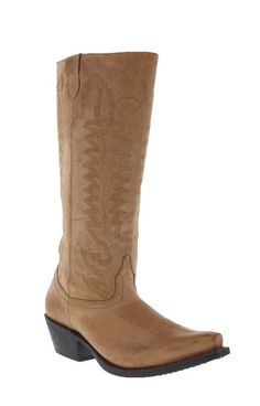 """Dan Post Women's 13"""" Tan Goat Stovepipe Snip Toe Boots features a stovepipe shaft collar with tone-on-tone shaft stitching. It features a tan-finished goat hide, a fashionable snip toe and an inside zipper for easy on and off. Snip toe Cowboy heel Laredo Flex rubber 