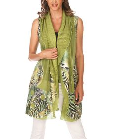 Look what I found on #zulily! Green & Black Abstract Draped Vest by Lindi #zulilyfinds