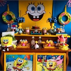 Dessert Tablescape | Sponge Bob Party | Dentro Da Festa Blogspot #dentrodafesta