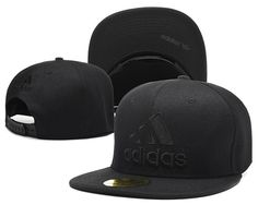 Mens Adidas Core Logo Front Classic Sports Black Tonal Retro Baseball Snapback Cap - All Black
