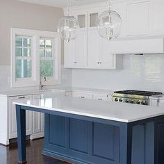 Blue Kitchen Island With Tapered Legs White Shaker Cabinets Style Kitchens Home