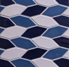 Crystal Hex Pattern B- Brilliant White, Electric Blue, Midnight