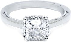 Tacori Princess Cut Halo Diamond Engagement Ring  : A slim halo of diamonds frames a petite, princess cut center stone, with clean lines and a slender shank decorated with modern crescent silhouettes for a sublime fusion of design and diamonds. 49PR front