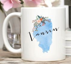 Illinois Mug / Personalized Mug / Custom State Mug / Friend Gift / Illinois Gift / 11 or 15 oz / Going Away Gift / Moving Gift   The state of