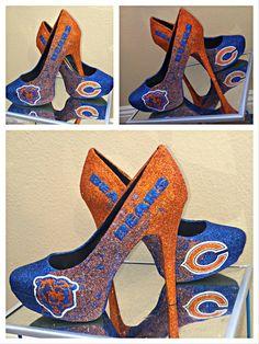 Women's Chicago Bears sparkly glitter orange by SportsCoutureCo