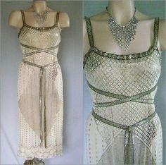 Sexiest 20's deco assuit & metallic ribbon grecian design flapper dress one size