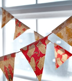 Decorative pennants. love it. so easy and fun for kids. new take on the paper rings chain.