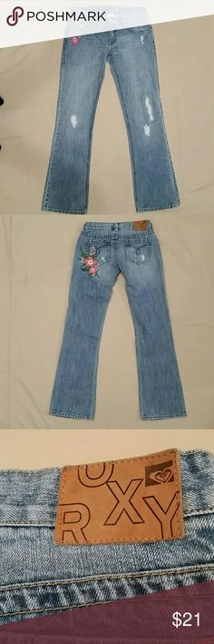"""ROXY Jeans - Embroidered and Distressed - Size 5 ROXY Jeans - Embroidered and Distressed - Size 5.  Measures 28x31 with a 7"""" rise.  Large embroidered flowers on the rear with a smaller one on the front.  Excellent pre-owned condition, from a Smoke-free and pet-free home. Roxy Jeans Straight Leg"""