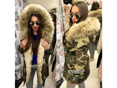 Army PARKA s béžovým kožíškem, SKLADEM - Bestmoda - Trendy fashion parka with huge fur in stock