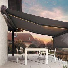 Sun Awnings, House Awnings, Outdoor Shade, Patio Shade, Terrace Decor, Terrace Garden, Decoration Restaurant, Small Patio Design, Pergola