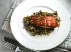 Salmon with French Lentils and Mustard-Herb Butter | thebrookcook