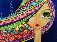 Vibrant Artwork By Romi Lerda Art Fantaisiste, Art Mignon, Ouvrages D'art, Airbrush Art, Art Pop, Whimsical Art, Art Plastique, Big Eyes, Face Art