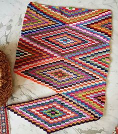 Back to my crochet 😉❤😊 bohemianblanket progressing sucrettesbohemianblanket inlove loveit happy colorful love colorfulblanket… Crochet Throw Pattern, Crochet Quilt, Crochet Squares, Crochet Home, Filet Crochet, Baby Knitting Patterns, Crochet Motif, Crochet Designs, Crochet Stitches