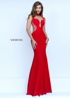 Sherri Hill 50117 Sexy Red Cut Out Illusion Jersey Dress