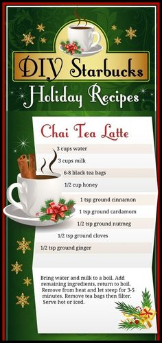 DIY – Chai Tea Latte  will have to try.  usually I have Starbucks cut back on the # of pumps...
