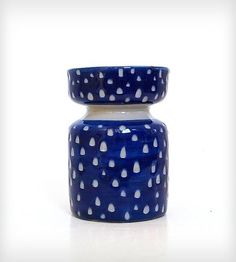 Blue Carved Out Dot Ceramic Vase