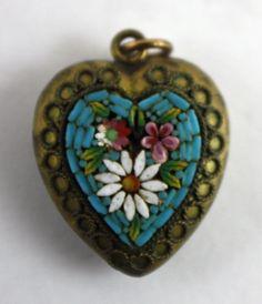 Old Vintage Victorian Etruscan Gilt Micro Mosaic Heart Charm Flower Pendant