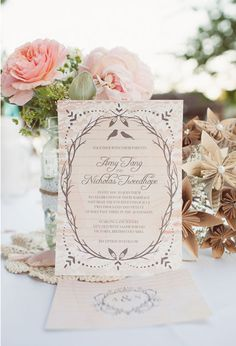 Wedding Invitations | Rustic Brown + Beige