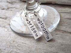 Bride and Groom Stamped Wine Charms